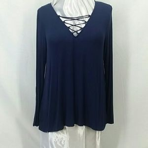 Old Navy Blue Lace-Up Top Size Med